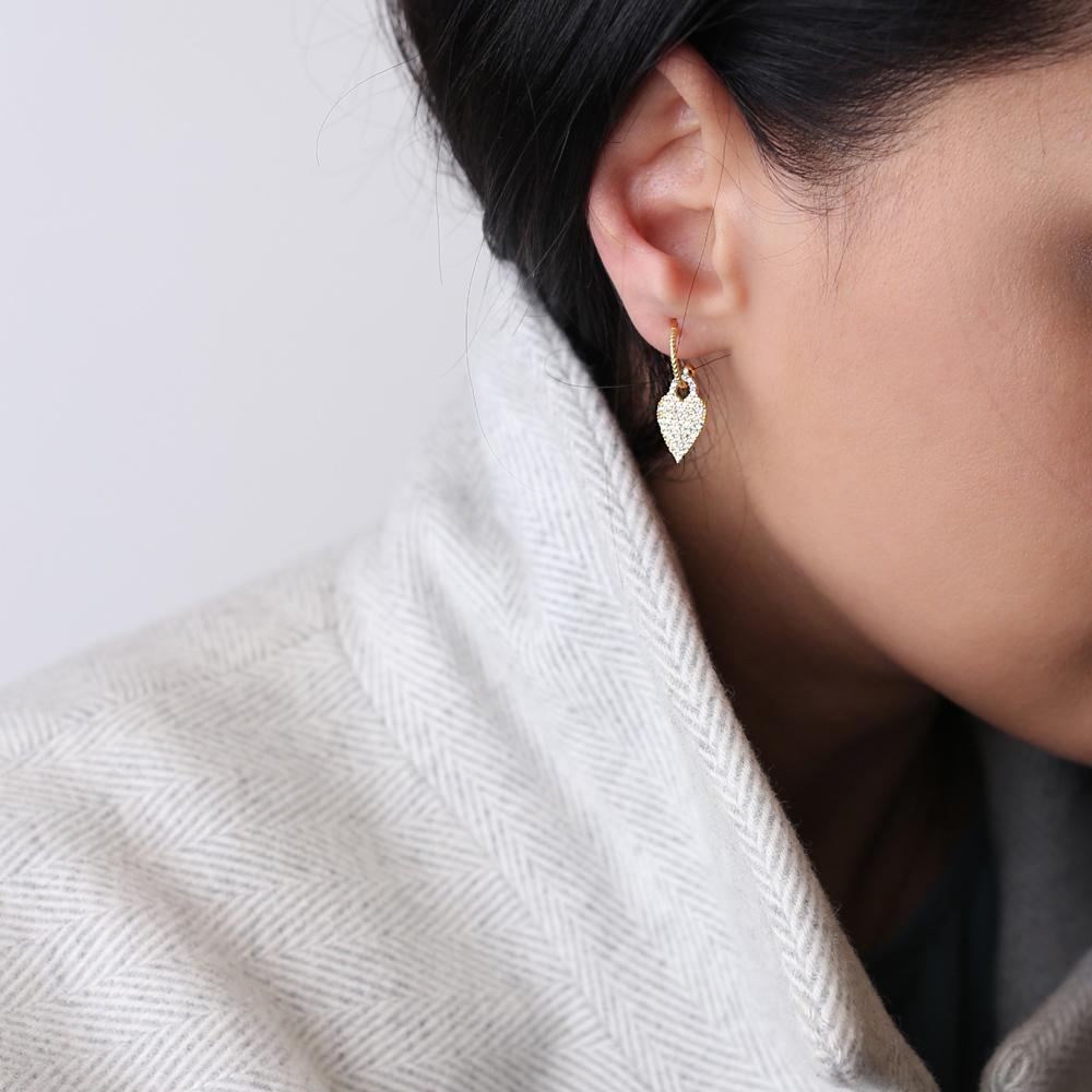 Chic Heart Charm Stud Earring Wholesale Handmade Turkish 925 Silver Sterling Jewelry