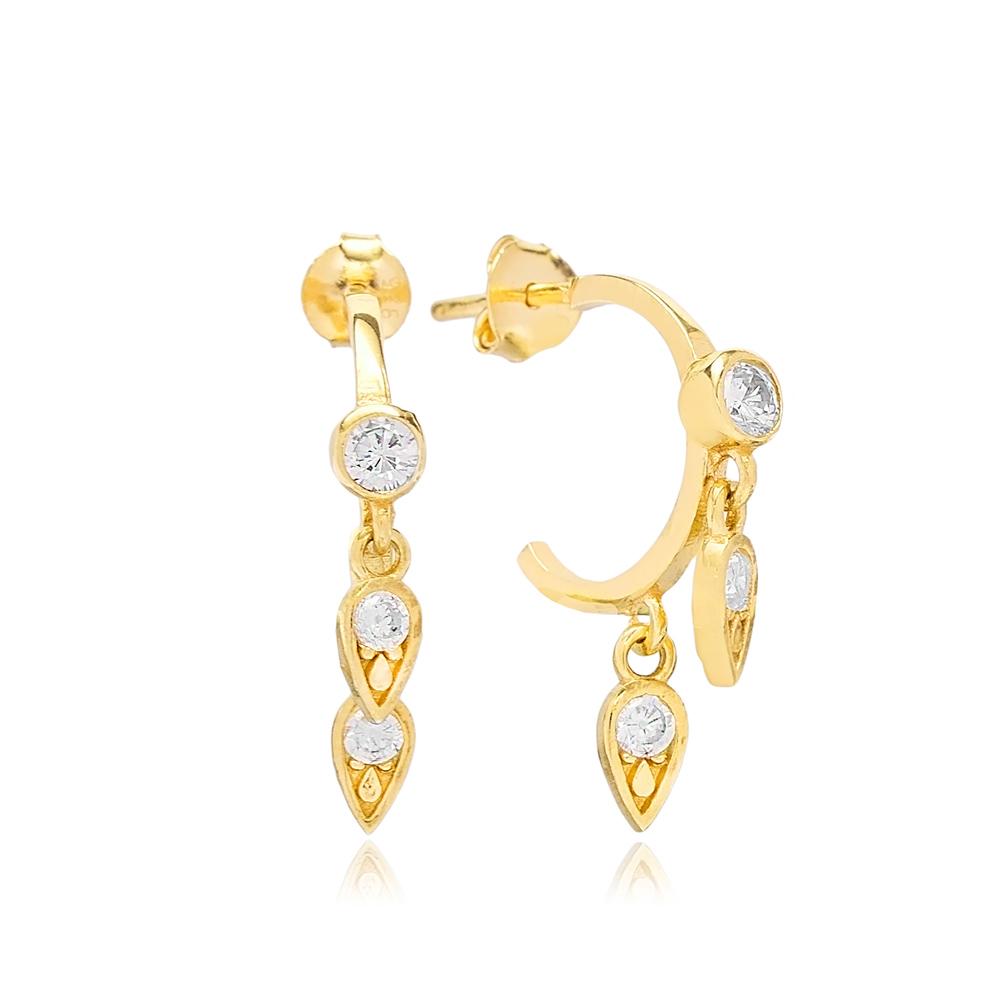 Fancy Water Drop Charm Earrings Wholesale Handmade Turkish 925 Silver Sterling Jewelry