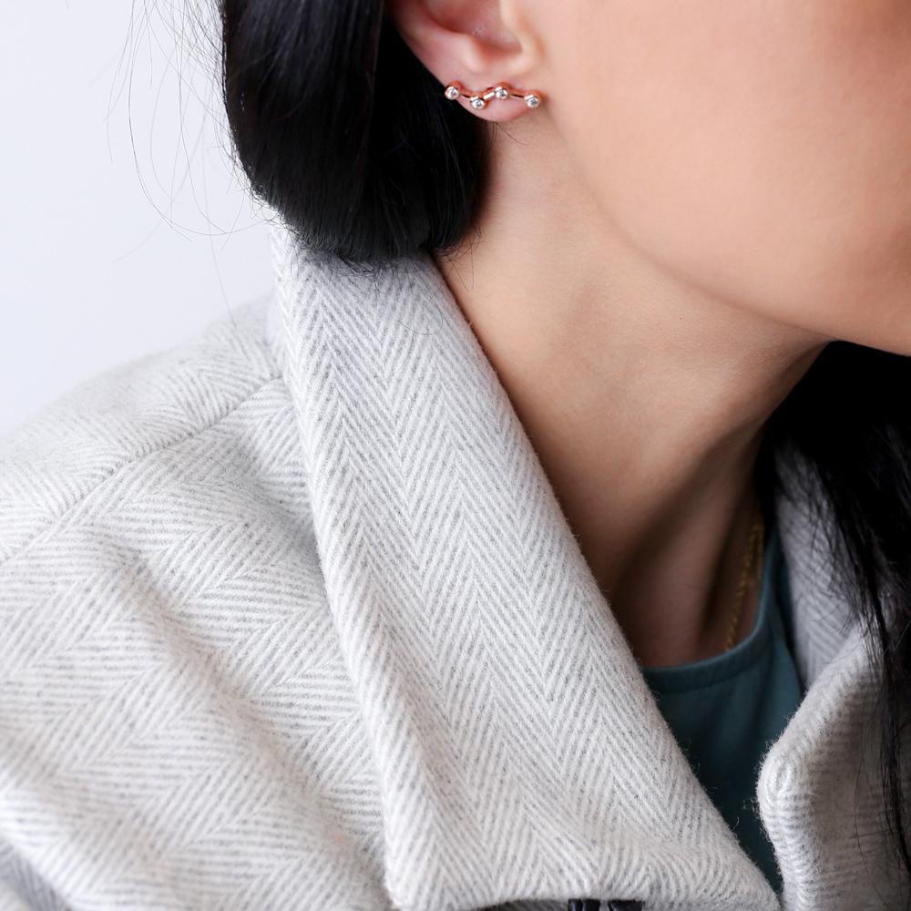 Zircon Constellation Stud Earrings Turkish 925 Silver Sterling Jewelry