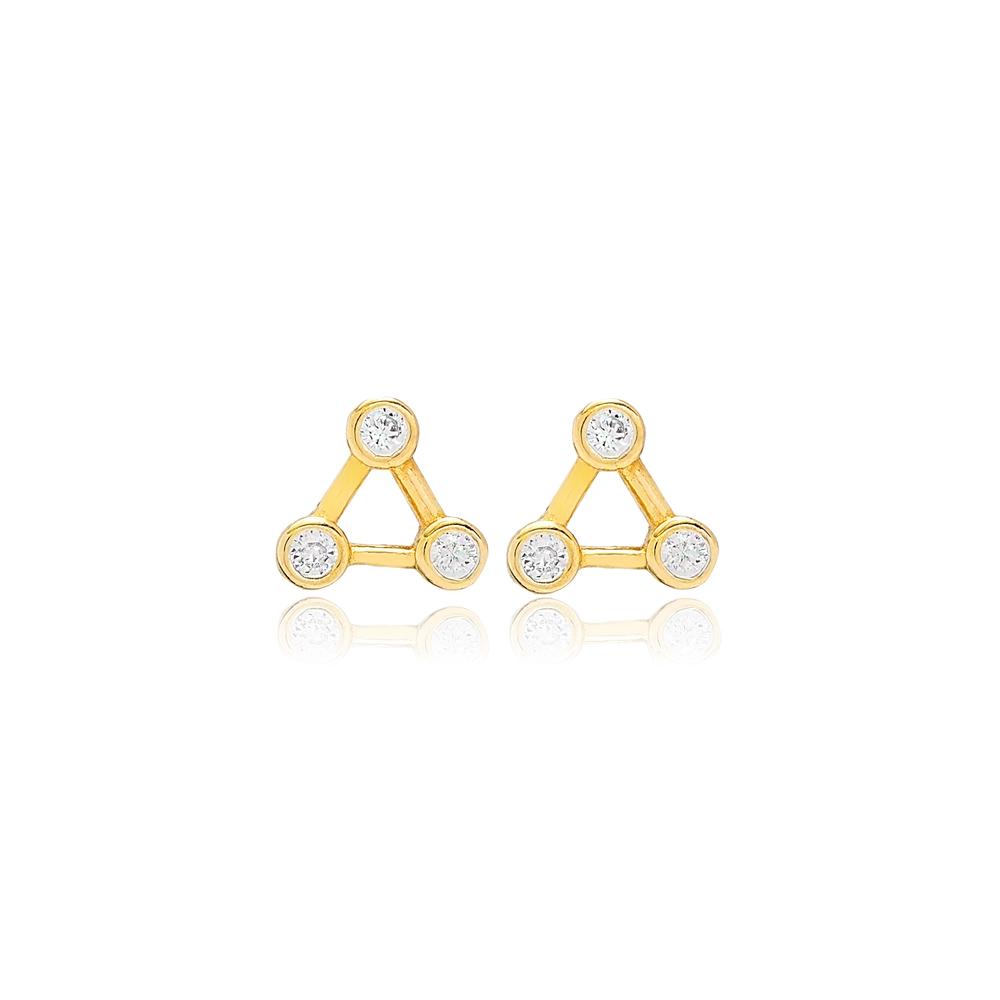 Zircon Triangle Constellation Earrings Turkish 925 Silver Sterling Jewelry