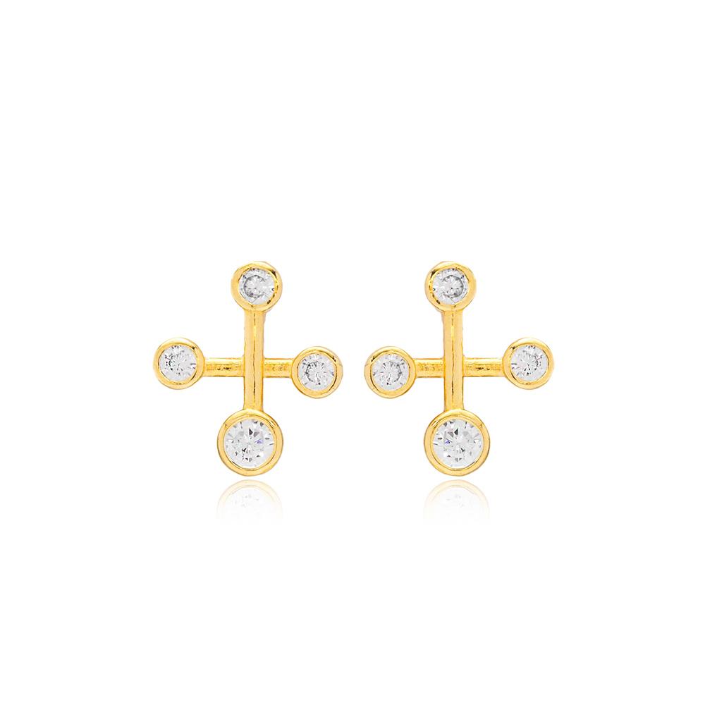 Zircon  Cross Constellation Earrings Turkish 925 Silver Sterling Jewelry