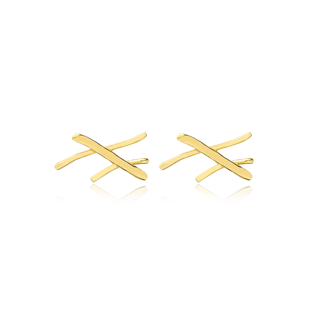 Crossed Stick Stud Earrings Wholesale Turkish 925 Silver Sterling Jewelry