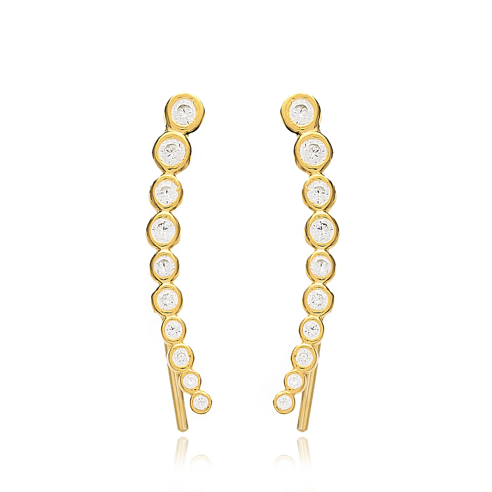 Zircon Stone Earring Turkish Wholesale Handcrafted 925 Sterling Silver Jewelry