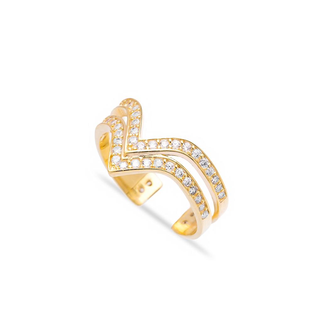 Dainty Design Two Bar Irregular Shape Turkish Adjustable Open Silver Ring