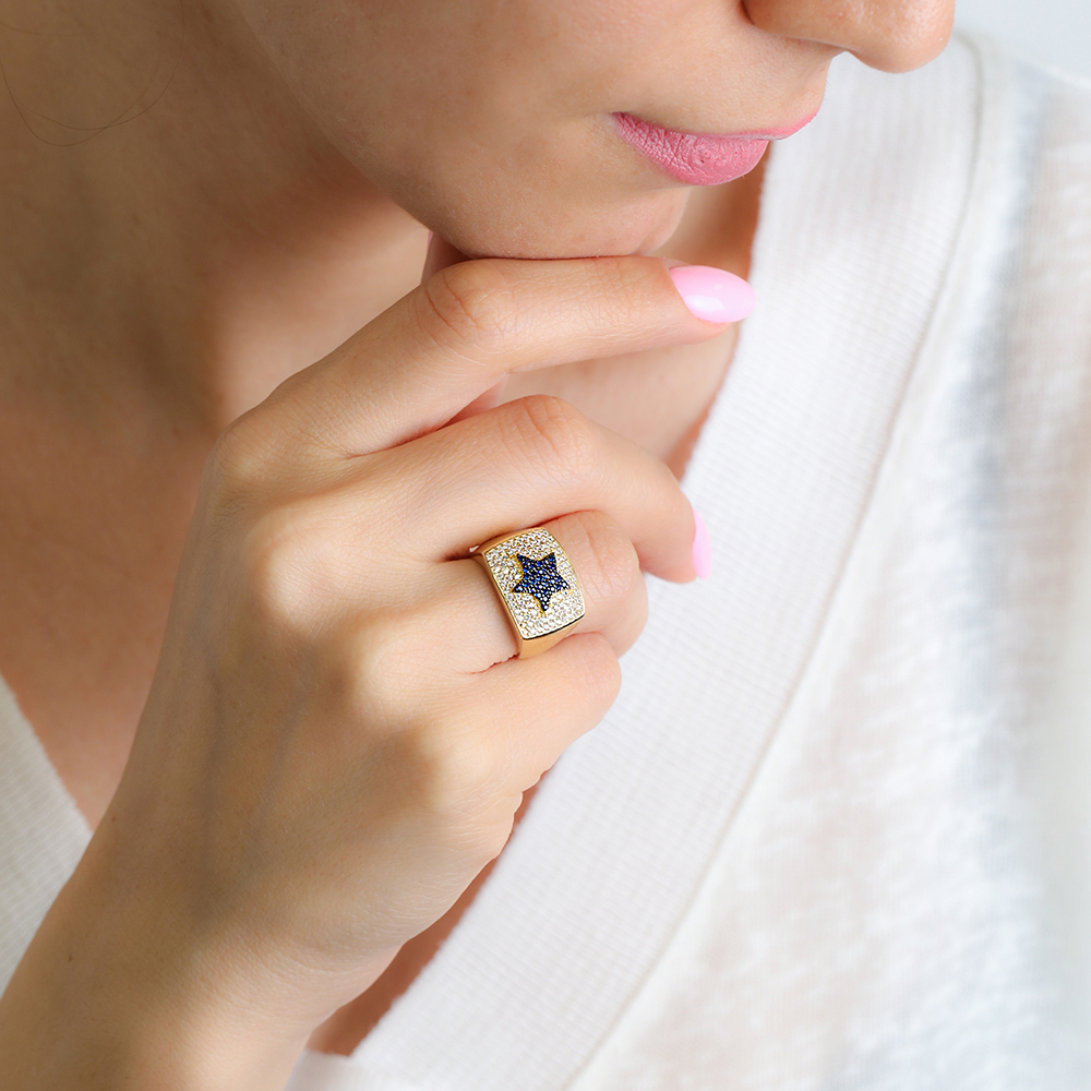 Sapphire Star Design Adjustable Ring Wholesale 925 Silver Sterling Jewelry