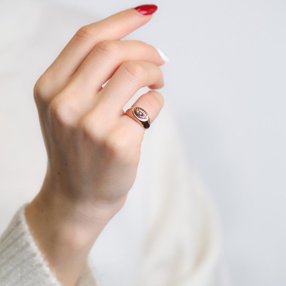 Little Finger Adjustable Ring Minimalist Evil Eye 925 Silver Sterling Jewelry