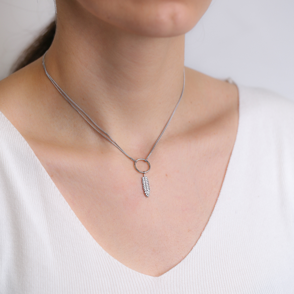 Feather Design Hollow Choker Necklace Handmade 925 Sterling Silver Turkish Wholesale Jewelry