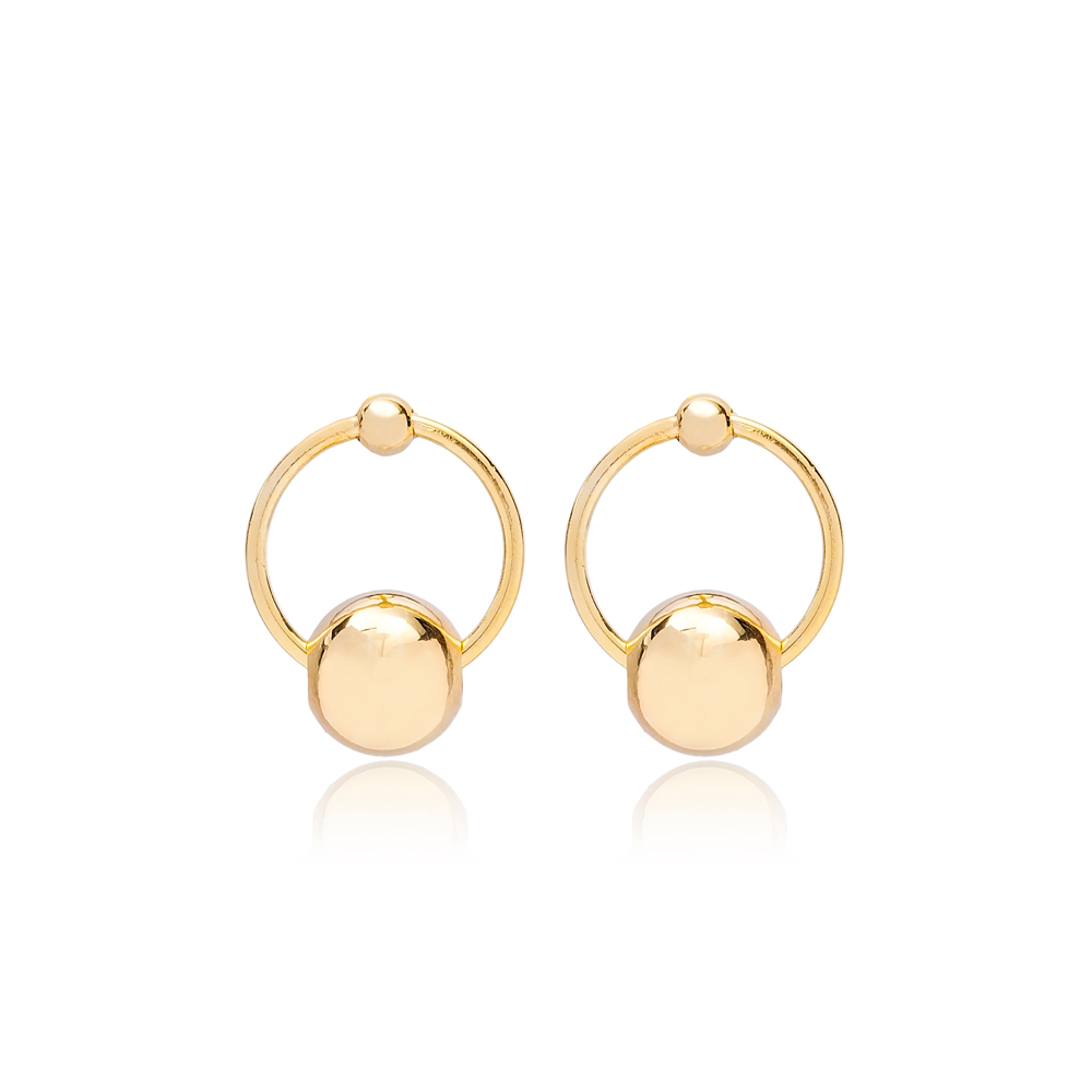 Shiny Ball Hollow Stud Earring Turkish Wholesale 925 Sterling Silver