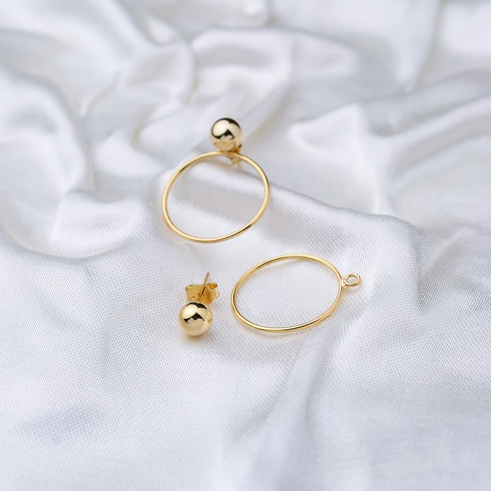 Trendy Hollow 2 in 1 Stud Earring Wholesale 925 Sterling Silver Jewelry