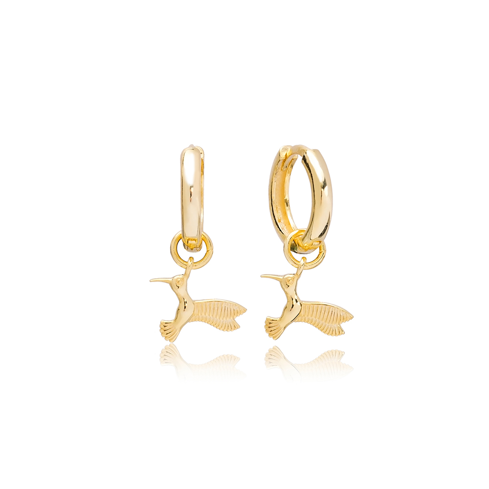 Early Bird Charm Dangle Earring Turkish Handmade 925 Sterling Silver Jewelry