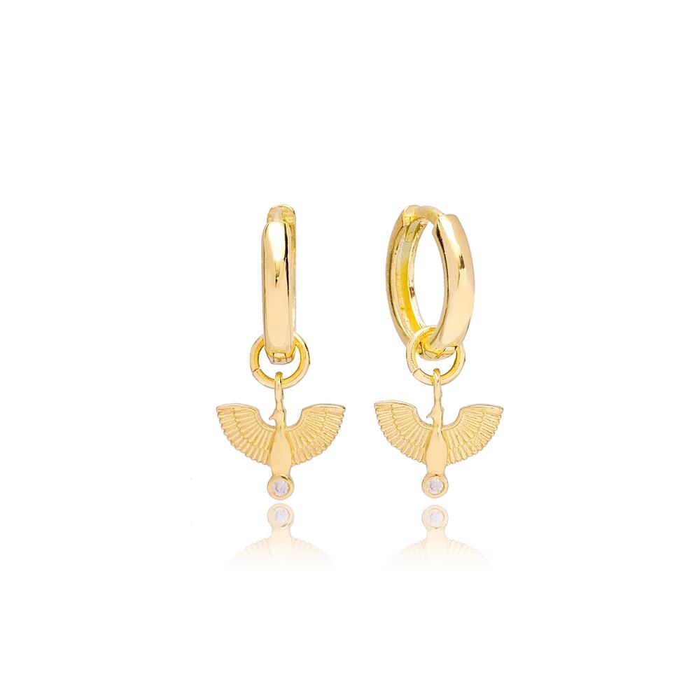 Phoenix Bird Charm Dangle Earring Turkish Handmade 925 Sterling Silver Jewelry