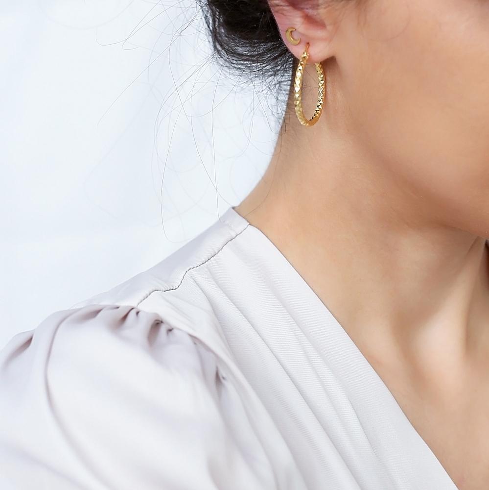 Geometric Design 30 mm Hoop Earrings 925 Sterling Silver Jewelry