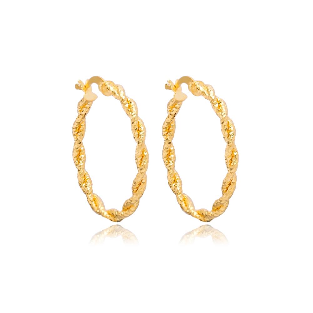 Twisted 31 mm Hoop Earrings 925 Sterling Silver Jewelry