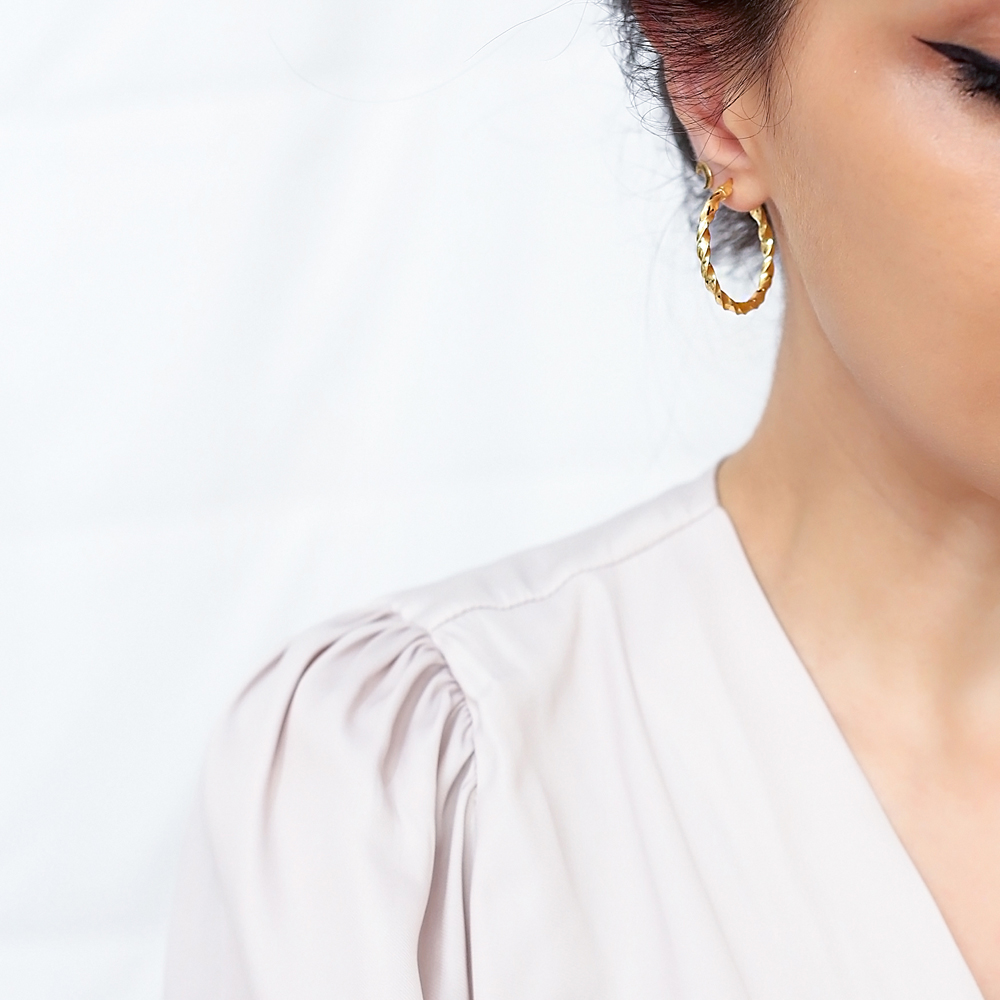 Trendy Twisted 30 mm Hoop Earrings 925 Sterling Silver Jewelry