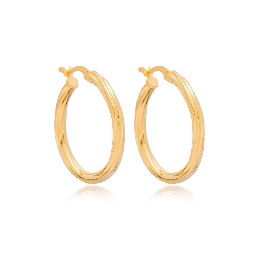 Dainty Twisted 31 mm Hoop Earrings 925 Sterling Silver Jewelry