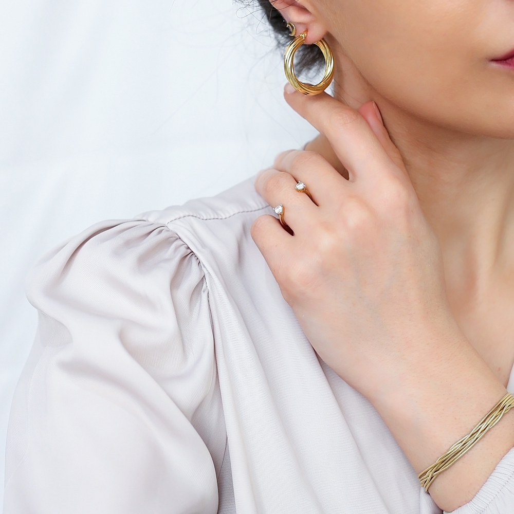 Chic Twisted 29 mm Hoop Earrings 925 Sterling Silver Jewelry