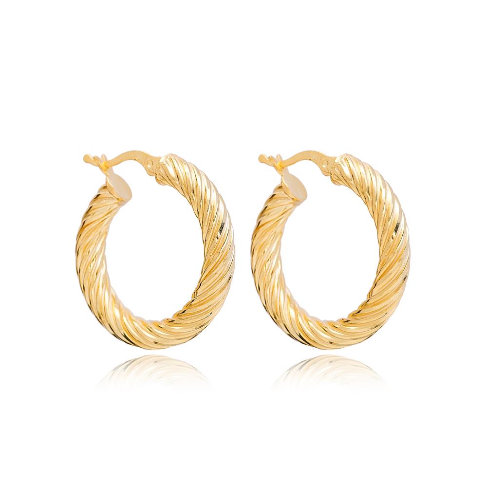Curled 29 mm Hoop Earrings Wholesale 925 Sterling Silver Jewelry