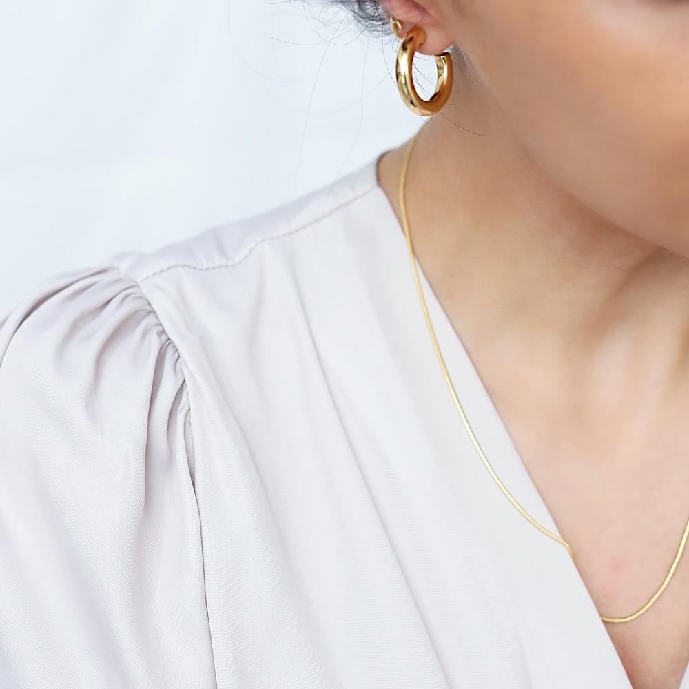 Minimalistic 26 mm Hoop Earrings 925 Sterling Silver Jewelry