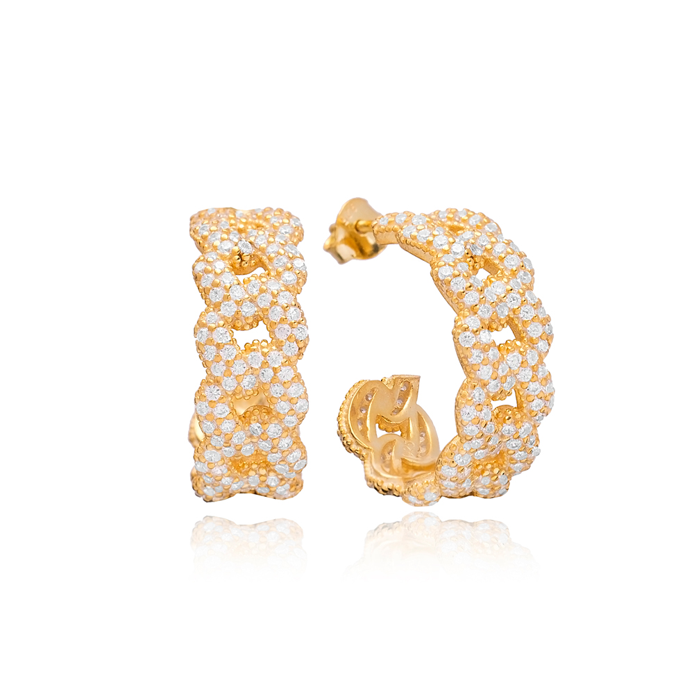 Zircon Stone Link Curb Chain Earrings  925 Sterling Silver Jewelry