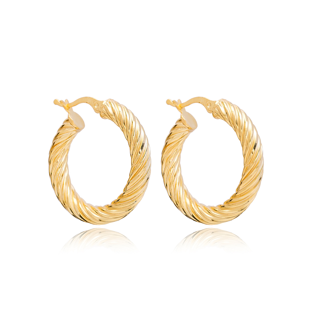 Curled Ø29 mm Hoop Earrings Wholesale 925 Sterling Silver Jewelry