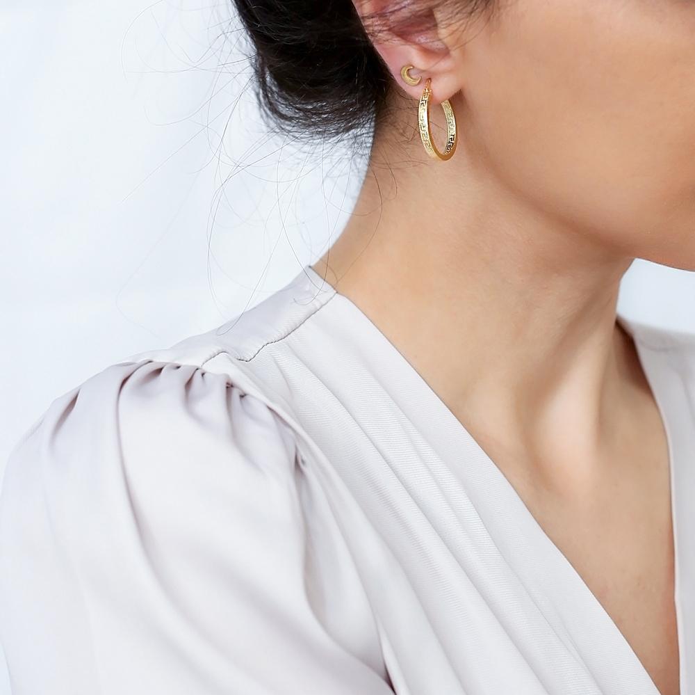 Vintage Design Ø25 mm Hoop Earrings 925 Sterling Silver Jewelry