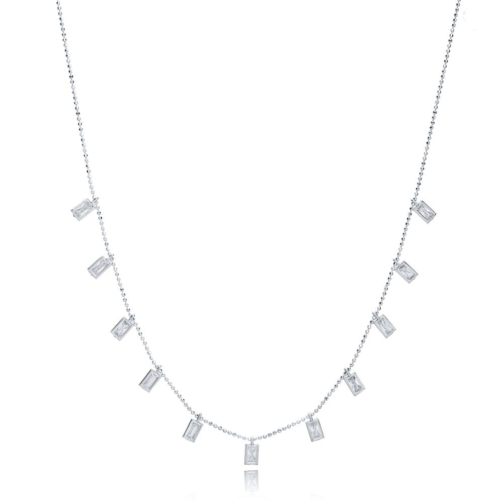 Rectangle Charm Design Turkish Wholesale 925 Silver Necklace