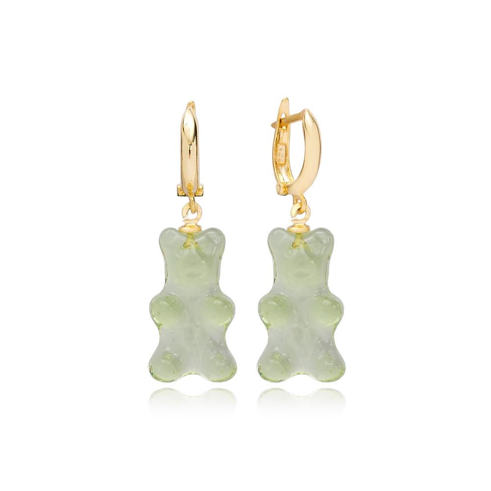 Green Gummybear Dangle Earring Turkish 925 Sterling Silver Jewelry
