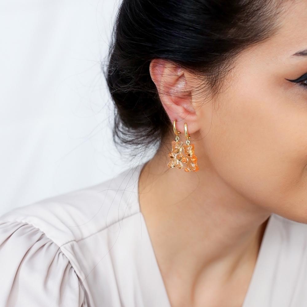 Orange Gummybear Dangle Earring Turkish 925 Sterling Silver Jewelry