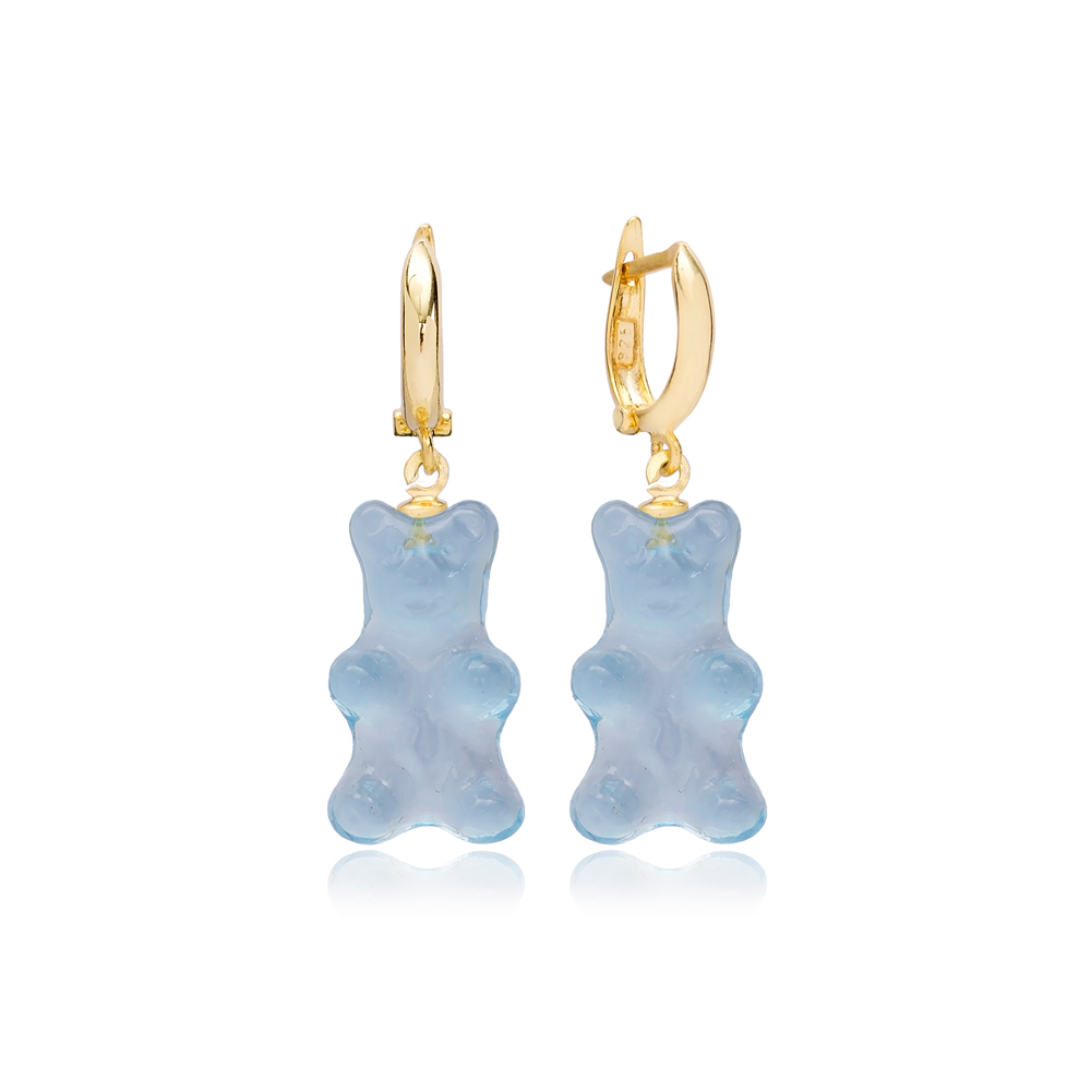 Blue Gummybear Dangle Earring Turkish 925 Sterling Silver Jewelry