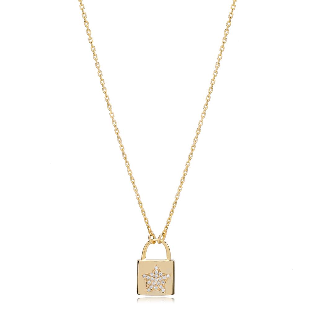 Padlock Star Design Charm Pendant Turkish 925 Sterling Silver Jewelry