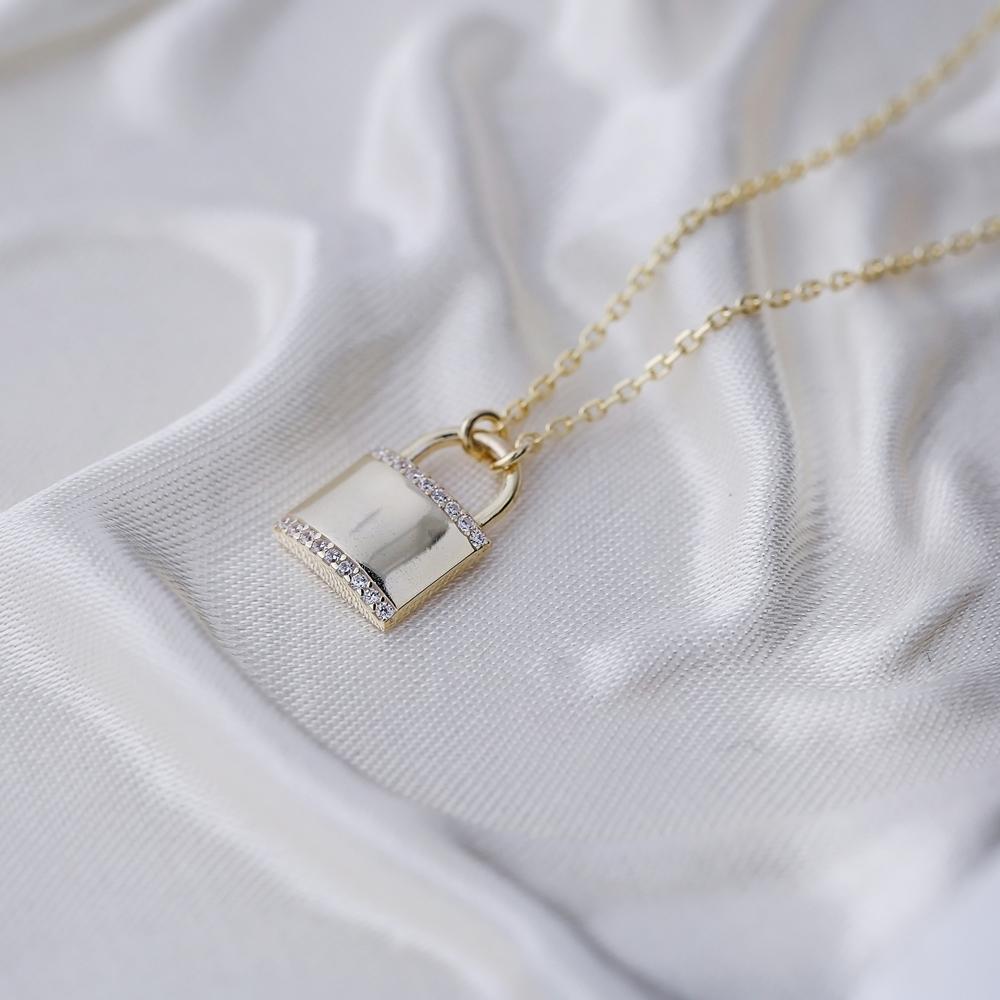 Padlock Design Charm Pendant Turkish 925 Sterling Silver Jewelry