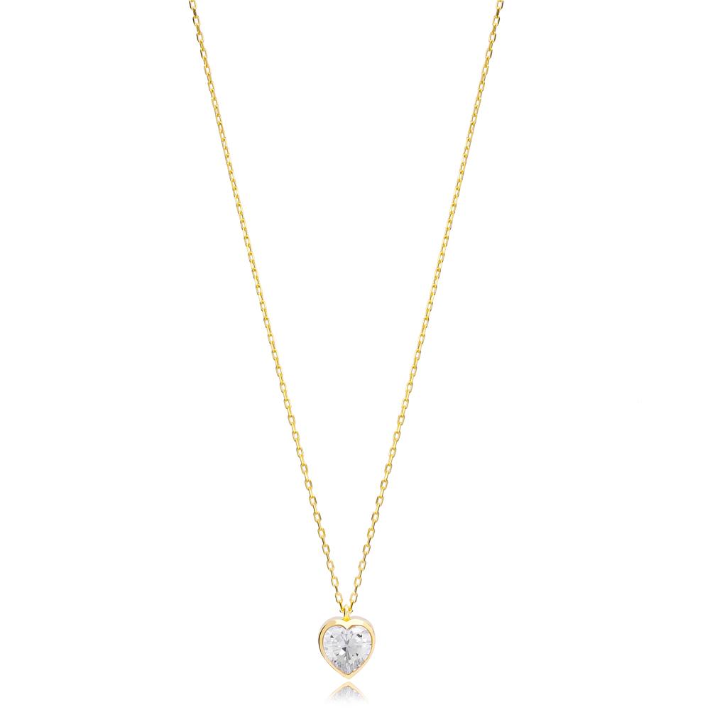 Heart Shape Stone Minimalist Design 925 Silver Sterling Jewelry
