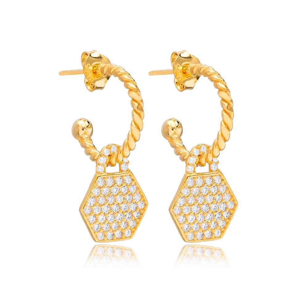 Hexagon Shape Charm Stud Earrings Wholesale Turkish 925 Silver Sterling Jewelry