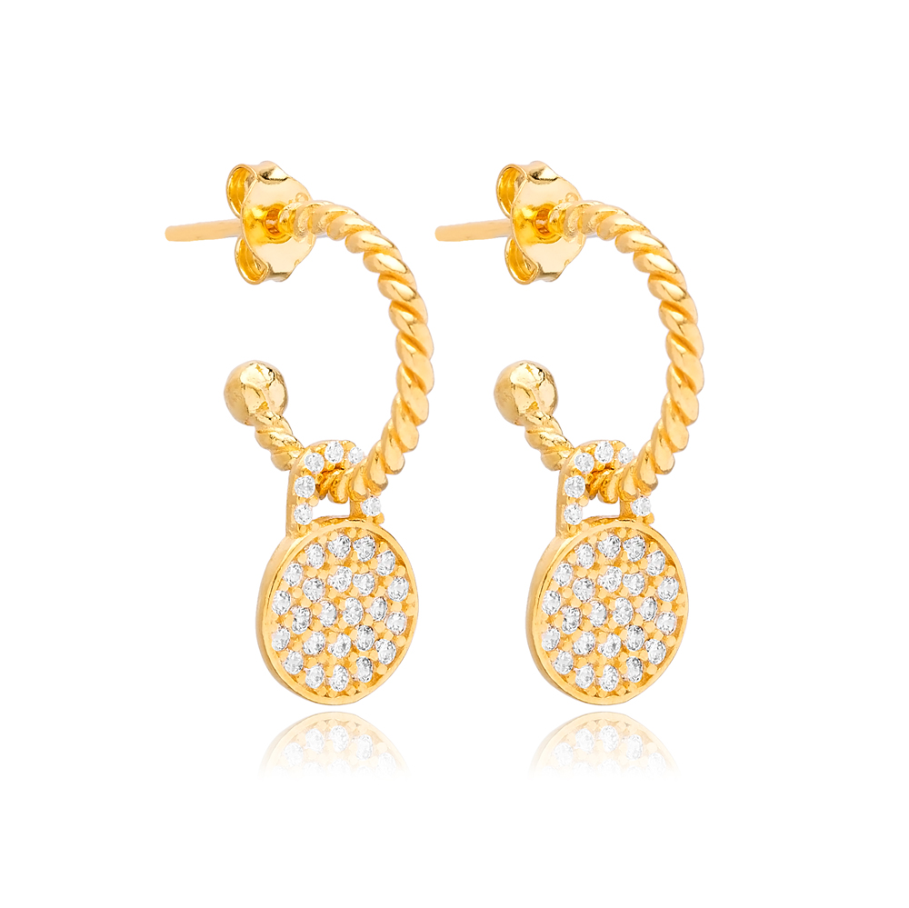 Round Shape Geometric Charm Stud Earrings Wholesale Turkish 925 Silver Sterling Jewelry