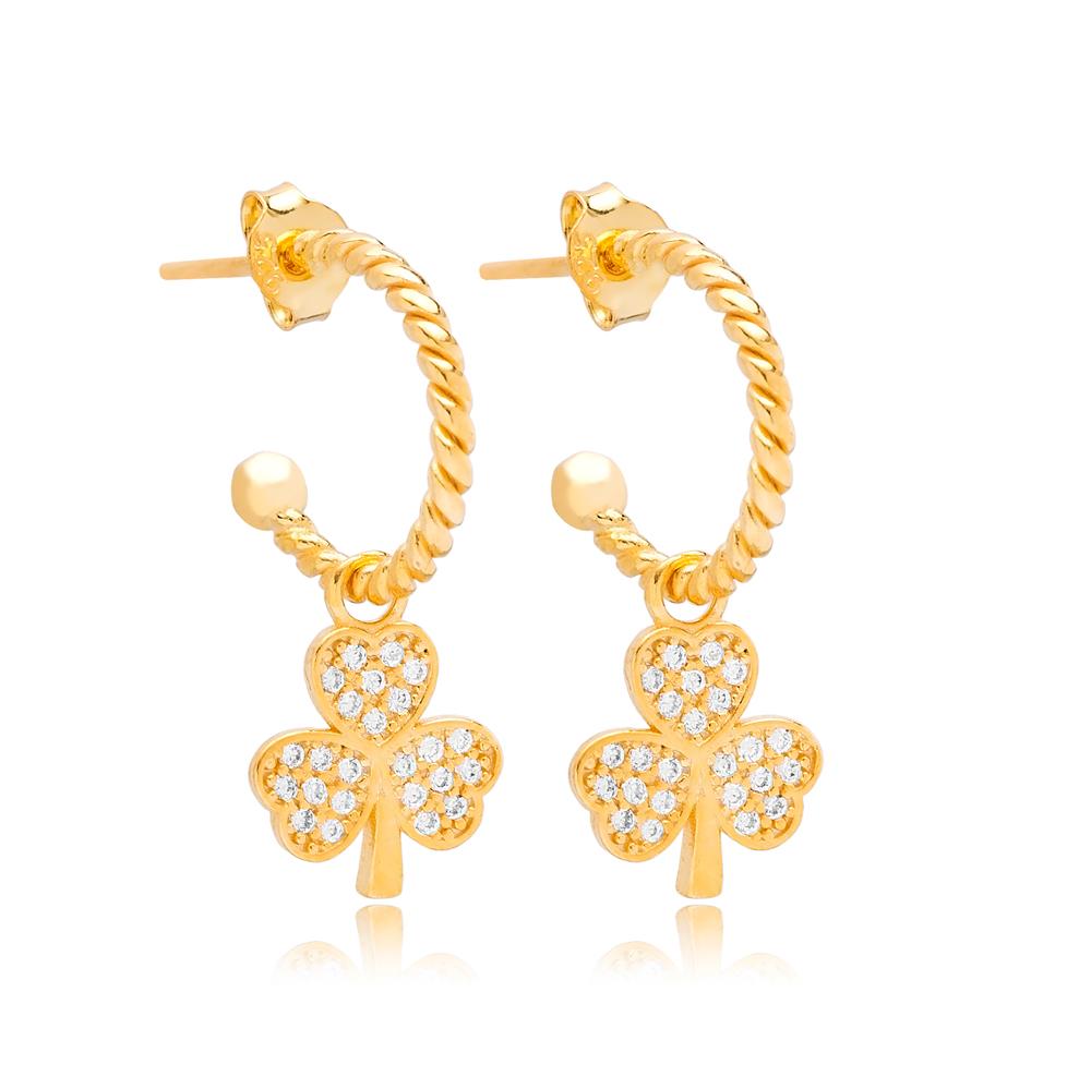 Three Leaf Clover Shape Stud Earrings Wholesale Turkish 925 Silver Sterling Jewelry