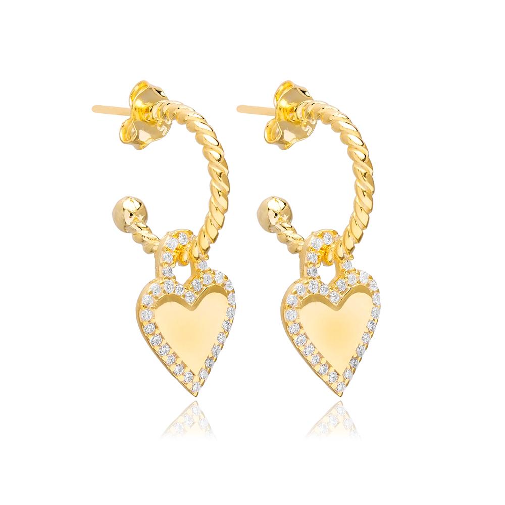 Heart Shape Charm Stud Earrings Wholesale Turkish 925 Silver Sterling Jewelry