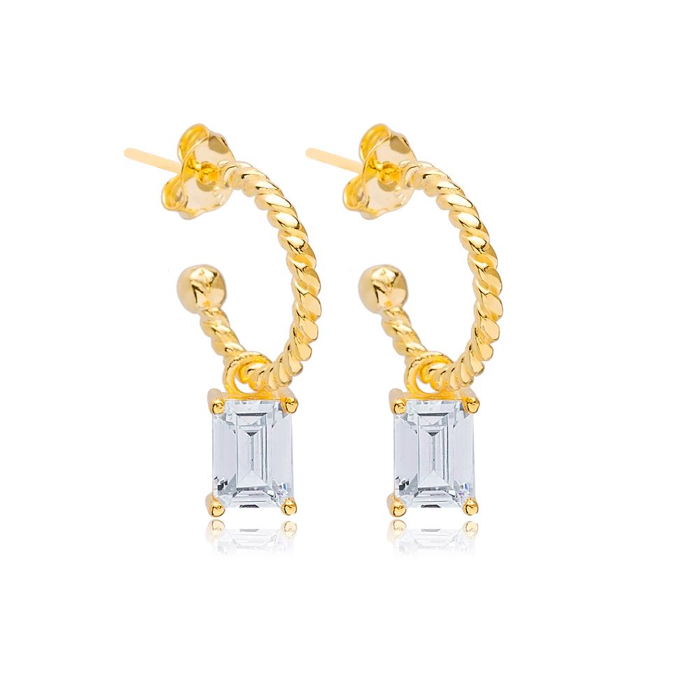 Rectangle Baguette Charm Hoop Stud Earrings Wholesale Turkish 925 Silver Sterling Jewelry