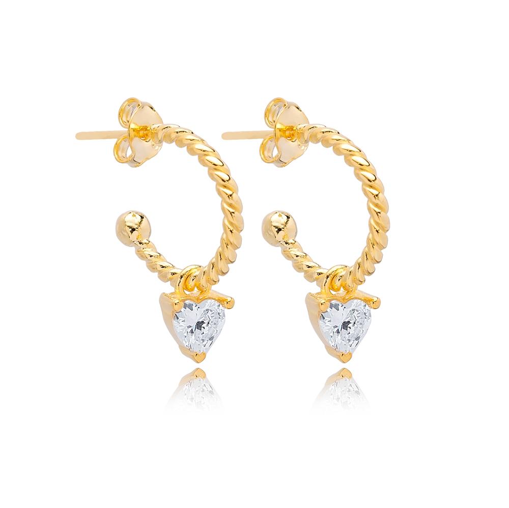 Heart Zircon Shape Charm Stud Earrings Wholesale Turkish 925 Silver Sterling Jewelry