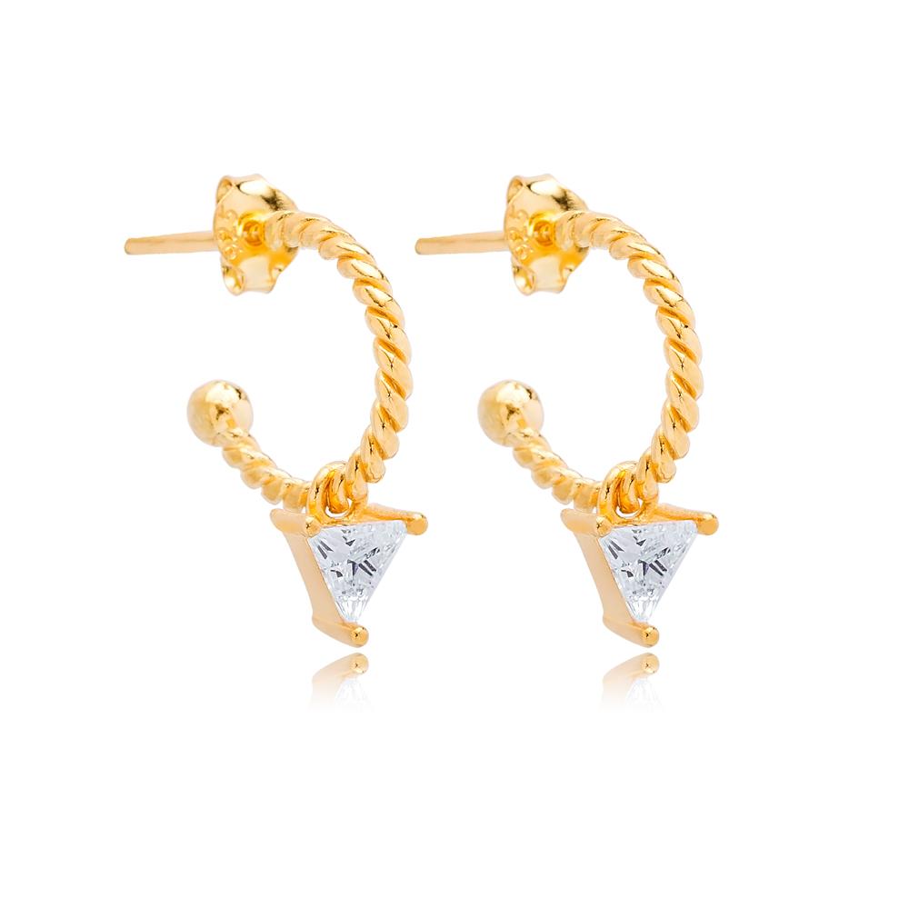 Triangle Zircon Shape Charm Stud Earrings Wholesale Turkish 925 Silver Sterling Jewelry