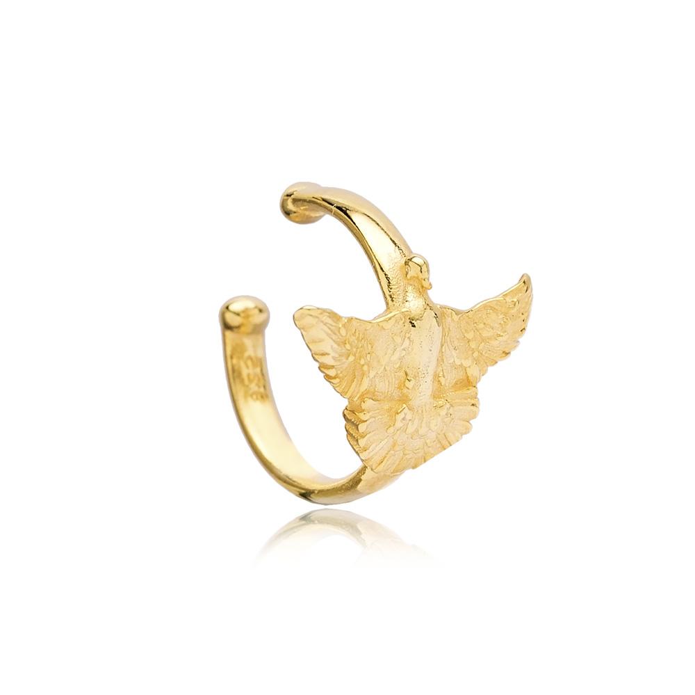 Bird Design Cartilage Single Earring Turkish 925 Silver Sterling Jewelry