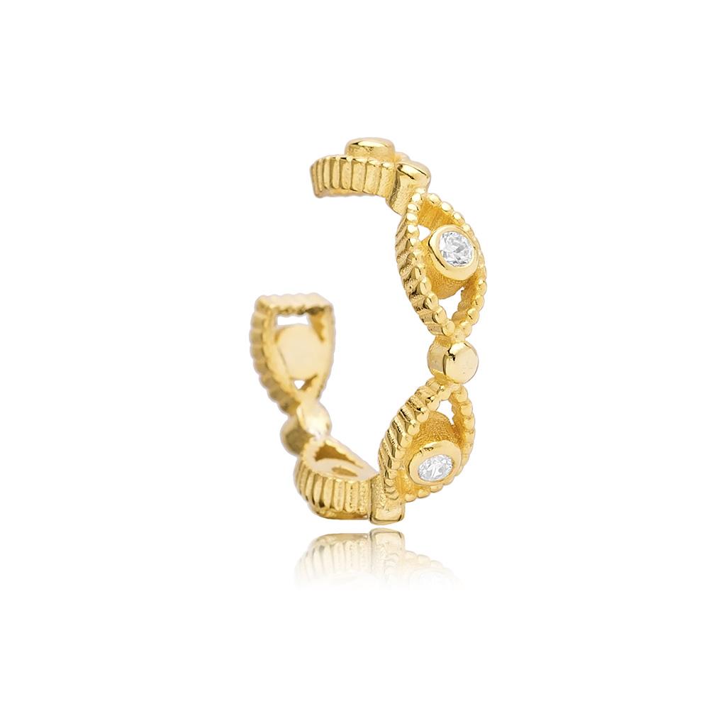 Oval Shape Design Cartilage Single Earring Turkish 925 Silver Sterling Jewelry