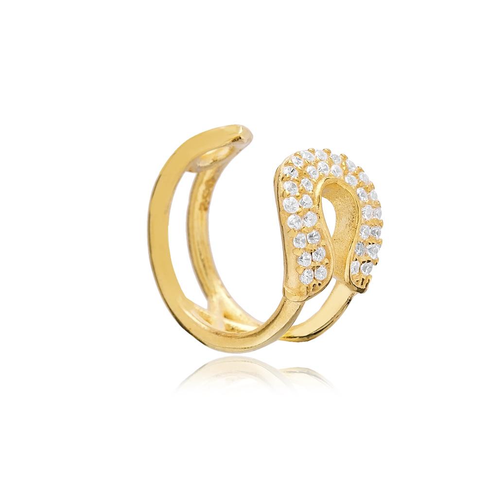 Zircon Cartilage Single Earring Turkish 925 Silver Sterling Jewelry