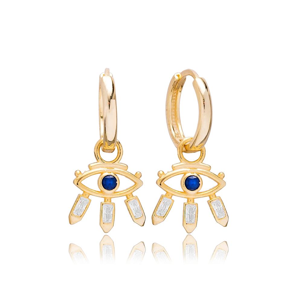 Baguette Design Evil Eye Charm Dangle Earring Turkish 925 Sterling Silver Jewelry