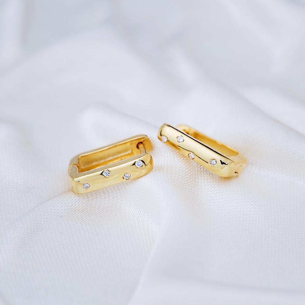 Zircon Design Hoop Earrings 925 Sterling Silver Jewelry