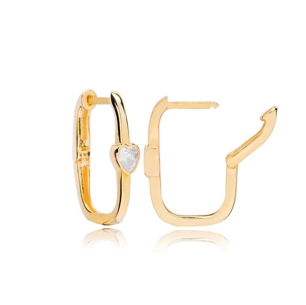 Rectangle Shape Minimalist Heart Design Earrings Turkish 925 Sterling Silver Jewelry