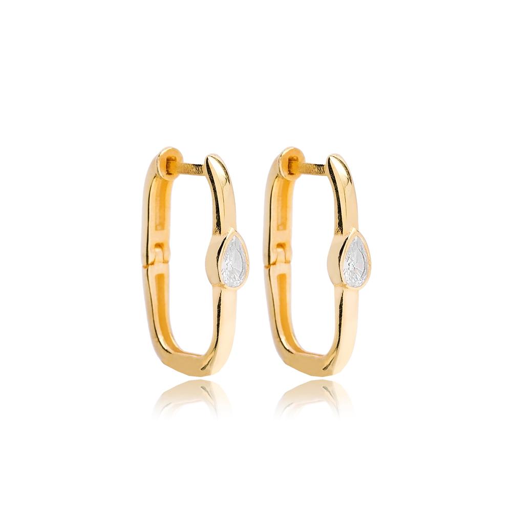 Minimalist Drop Design Dainty Rectangle Earrings Turkish 925 Sterling Silver Jewelry