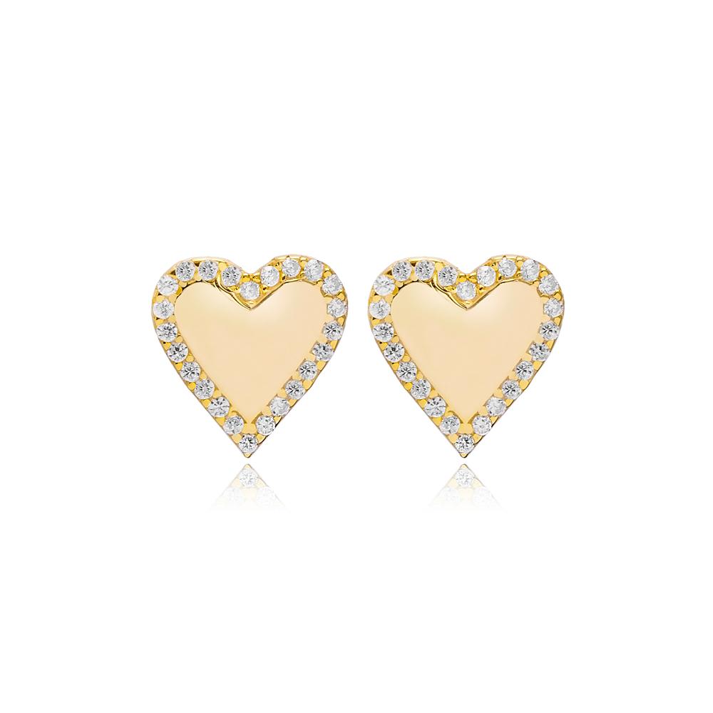 Trendy Heart Design Stud Earrings Turkish 925 Sterling Silver Jewelry