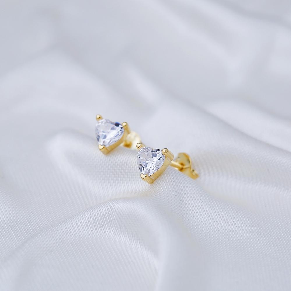 Minimalist Zircon Stone Heart Design Stud Earrings Turkish 925 Sterling Silver Jewelry