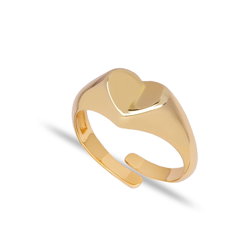 Trendy Plain Heart Design Adjustable Ring Wholesale 925 Silver Sterling Jewelry