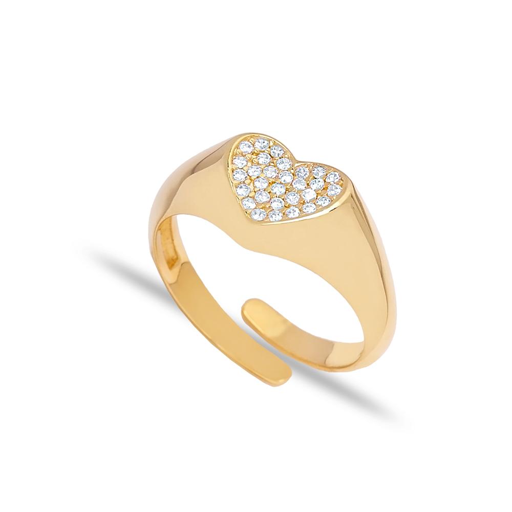 Trendy Zircon Stone Heart Design Adjustable Ring Wholesale 925 Silver Sterling Jewelry